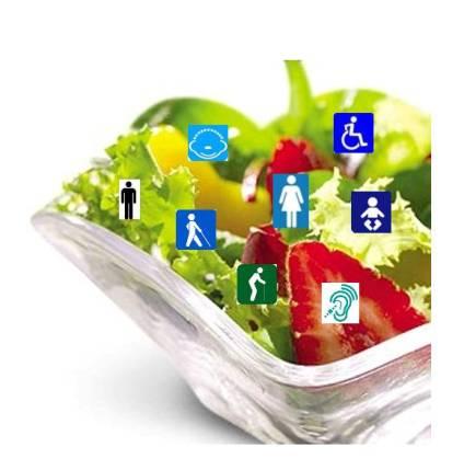 Ensalada de Inclusión: imagen de una ensalada con iconos de las distintas condiciones del ser humano